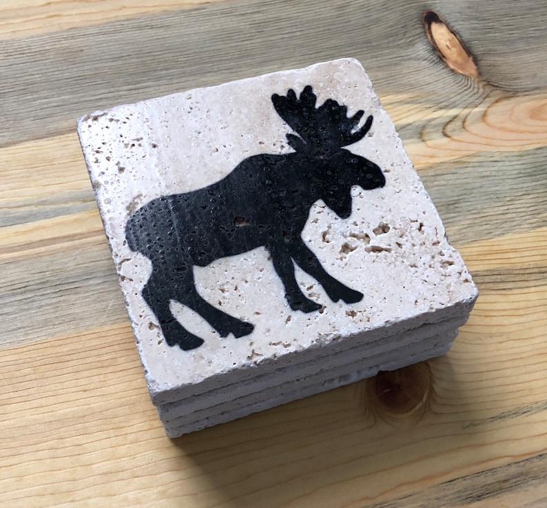 Moose Natural Stone Coasters Set Rustic Moose Decor Moose image 0