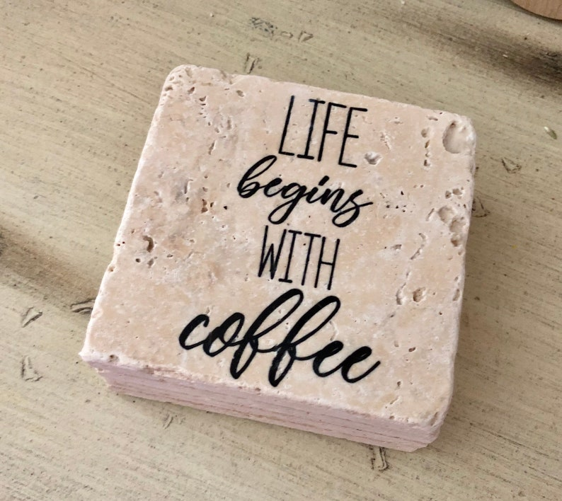 Life Begins With Coffee Natural Stone Coasters Set of 4 image 0