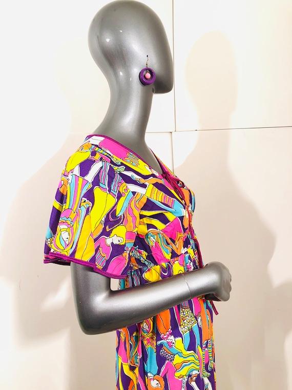 60s Groovy Psychedelic Mod BoHo People Dress - image 7
