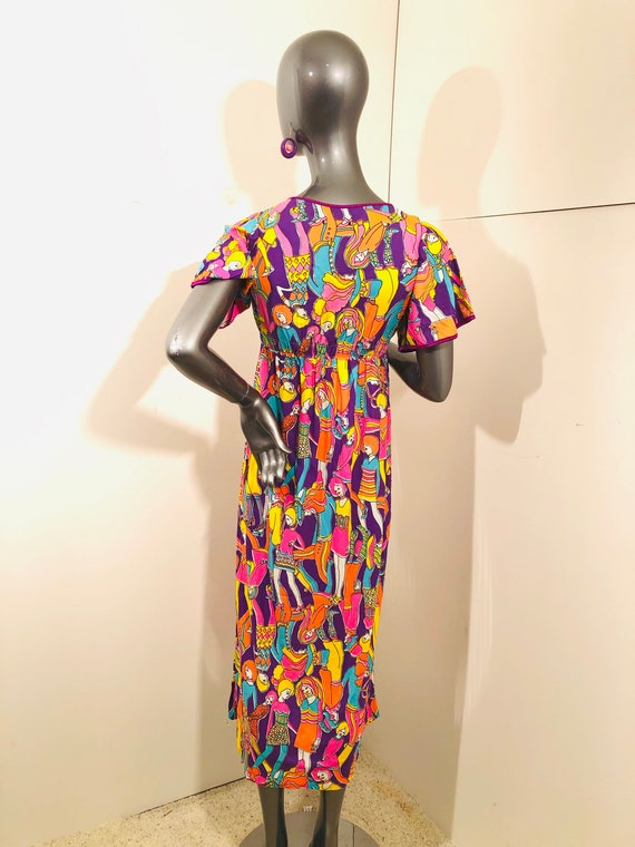 60s Groovy Psychedelic Mod BoHo People Dress - image 3