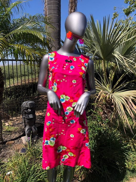 Hot pink cherry blossom dress Hawaiian Togs