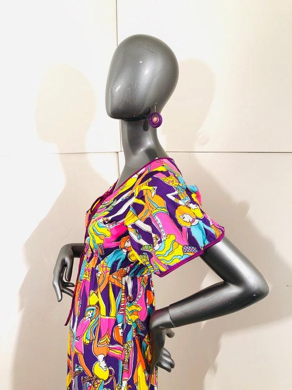 60s Groovy Psychedelic Mod BoHo People Dress - image 6