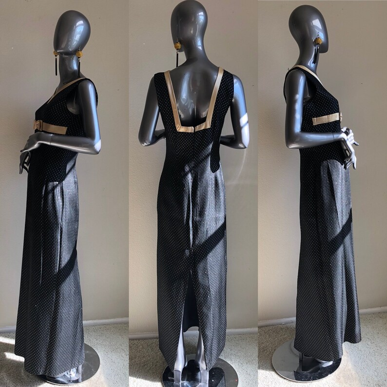 Black with Gold Satin Vneck 60s hostess Dresss