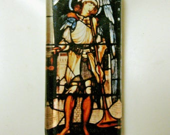 Archangel Michael stained glass window pendant with chain - GP01-004