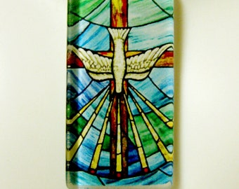 Holy Spirit stained glass window pendant with chain - GP01-027