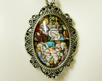 Nativity stained glass window pendant with chain - AP04-421