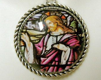 Christ stained glass window pendant and chain - AP25-051