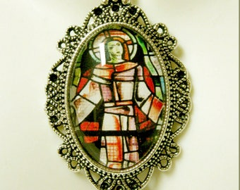 Ascension of Christ stained glass window pendant with chain - AP04-178