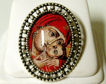 Madonna and child brooch/pin - BR02-019