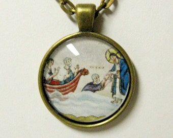 Christ walking on water pendant with chain - AP05-033