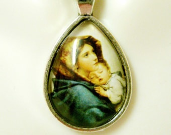 Madonna of the streets teardrop pendant and chain - AP02-109