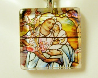 Madonna and child stained glass window pendant with chain - GP02-065