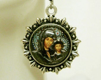 Black Madonna and child earrings - AP03-214