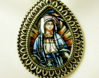 Our Lady of Lourdes stained glass window pendant with chain - AP15-119