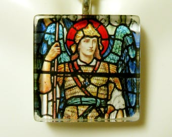 Archangel Michael stained glass window pendant with chain - GP02-153