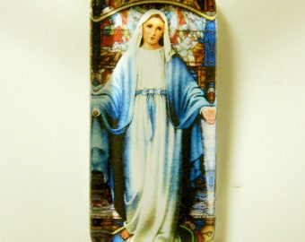 Miraculous medal glass pendant ad chain - GP12-312