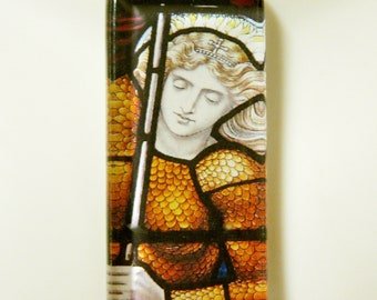 Saint Joan of Arc stained glass window pendant with chain - GP01-420