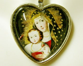 Madonna and child heart pendant and chain - AP40-036 - Cusco