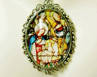 Nativity stained glass window pendant and chain - AP09-250