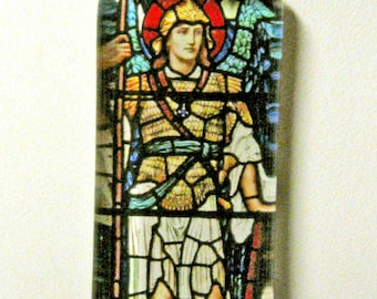Archangel Michael stained glass window pendant with chain - GP01-617