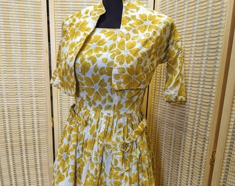 Vintage 1950's Mode O'Day Circle Dress with Yellow Flowers and Matching Belt and Bolero