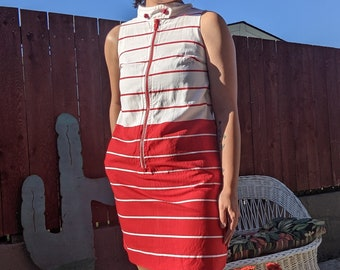 Vintage 1960's Mod Twiggy Style | Red and White Striped Shift Dress with Chunky Zipper and Button Collar | by Campus Casuals of California
