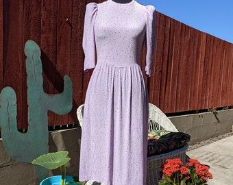 Vintage 1980's Whimsical Confetti Print Lavender Purple Garden Party Dress | ane Schaffhausen Belle France, for Neiman Marcus | Size S
