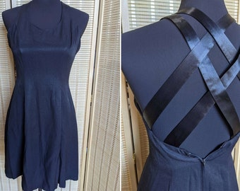 """Vintage 1990's Little Black Skater Dress with Cross Straps made by """"CDC - Caren Desiree Company"""""""