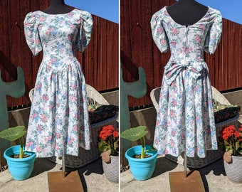 Vintage 1980's Floral Garden Party Prom Dress with Large Bow | Laura Ashley Inspired | Handmade