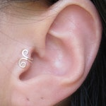 Sterling Silver Small Swirl Tragus NO Piercing Ear Cuff