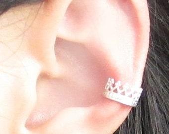 Sterling Silver Majesty Crown Ear Cuff
