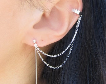 Sterling Silver Arrow Double Chain Solid Cuff Earring