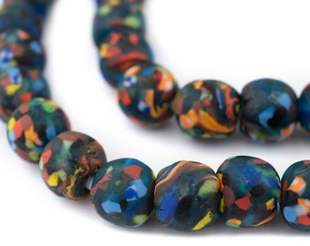 41 size varies slightly as they are hand made Large bottle beads made from recycling bottle in Ghana 20 x 25 mm beads