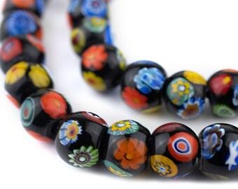 Pr Vintage Foil Art Glass  Beads Black 11x12mm Green
