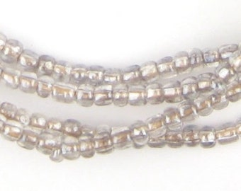 400 Crystal Clear Ghana Glass Beads - African Spacer Beads - Ethnic Glass Beads - Seed Bead Necklace (GHN-RND-CLR-143)