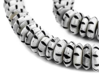 108 Grey Carved Disk Bone Mala Beads 13mm: Bone Rondelle Beads Rustic Bone Beads Disk Shaped Beads Carved Bone Beads Nepal Bone Beads