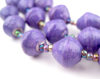 Fair Trade Beads Lilac Bead Assortment Handcrafted Recycled Paper Beads 50 Count