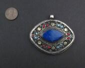 Premium Lapis Inlaid Afghani Silver Pendant Eye Shape Unique Finding Silver Metal Pendant Handmade Pendant Ethnic Pendant Tribal Pendant