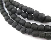 80 Black Recycled Glass Beads - Handmade Glass Beads - Crushed Glass Beads - Glass Beads Strand - Ghana Glass Beads (RCY-RND-BLK-736)