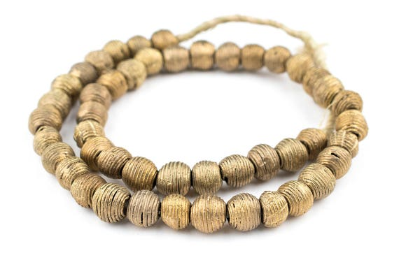 Antique Cameroon Brass Bicone Beads 14mm African Cylinder Large Hole Handmade