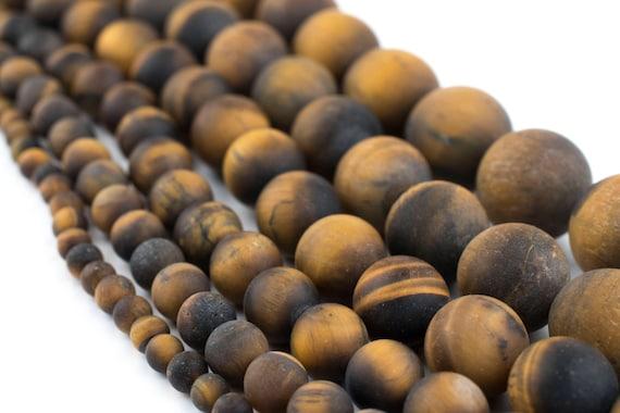 "8mm Natural Matte Tiger Eye Tigereye FrostedRound Beads 15/"""