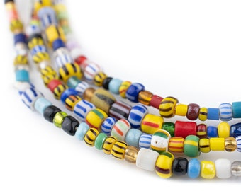 75 Mixed Ghana Chevron Beads - African Glass Beads - Jewelry Making Supplies - Made in Ghana ** (XMAS-MIX-MIX-205)