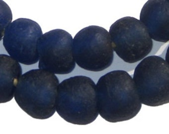 45 Cobalt Blue Recycled Glass Beads 14mm - African Glass Beads - Fair Trade - Sea Glass Necklace - Made in Ghana (RCY-RND-BLU-542)