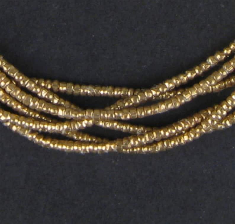 450 Brass Heishi Ethiopian Beads 2mm  Brass African Beads  image 0