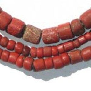 24 Strand SNAKE-RED-207 Coral Snake African Trade Beads