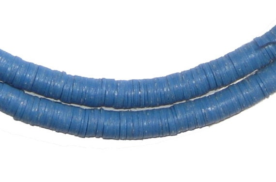 600 Phono Record Beads 6mm Blue Vinyl Beads African Beads
