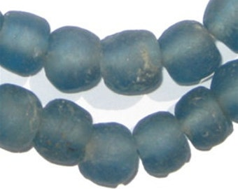 50 Recycled Glass Beads - Light Blue African Beads - 14mm Round Beads - Fair Trade Necklace - Wholesale - Made in Africa (RCY-RND-BLU-565)