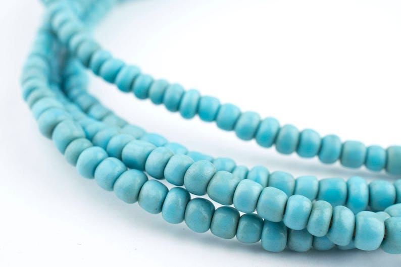 300 Vintage Turquoise Beads - 2 Strands - Blue African Glass Beads -  African Seed Beads - Made in Ghana ** (GHN-SED-BLU-120)