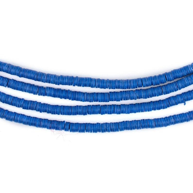 African Waist Beads Vulcanite Beads Ghanaian Trade Beads Tiny Vinyl Beads Heishi Shaped Beads Cobalt Blue Vinyl Phono Record Beads 3mm