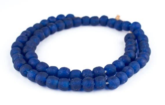 Aqua Swirl Recycled Glass Beads 14mm Ghana African Sea Glass Blue Round Handmade